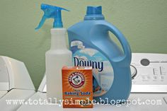 Homeade Febreze for less than $0.10 per bottle. In a standard spray bottle put 1 1/2 cups water, 1 Tbsp. baking soda and 1 -2 Tbsps. of fabric softener. Shake well and spray on carpets, fabrics, etc. as needed.