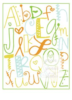 Items similar to Funky Hand- Doodled Alphabet Typography Print Girl or Boy Nursery on Etsy