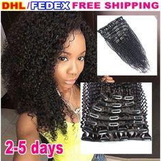 클립 말레이시아 곱슬 머리 확장 7 개 아프리카 곱슬 곱슬 레미 클립 직조 클립 인간의 머리 확장 블랙 여성