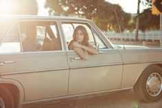 Jane Jee with friend ( Dim Livanos) in vintage Mercedes Benz (L. Old Mercedes, Road Trip Photography, Sun Flare, Louis Stevenson, Light Of Life, Way Of Life, Summer Time, Happy Summer, Summer Days