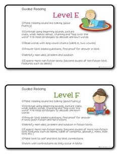 Guided Reading Note Cards for Teachers FREEBIE