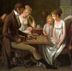 1803 painting of a family playing checkers by the French artist Louis-Léopold Boilly