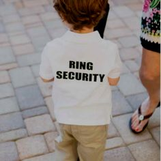 Love this ring bearers shirt, they can wear this while they are getting ready.