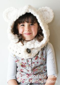 DIY Crochet PATTERN - Chunky Crochet Polar Bear Hood in Toddler, Child and Adult Sizes (hat019)