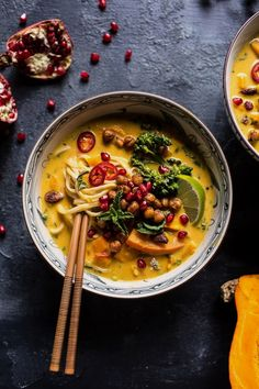 """You searched for Thai Pumpkin Laksa with Crunchy """"Fried"""" Chickpeas - Half Baked Harvest Soup Recipes, Vegetarian Recipes, Cooking Recipes, Healthy Recipes, Vegetarian Laksa, Fall Recipes, Healthy Food, Chickpea Recipes, Cooking Tips"""
