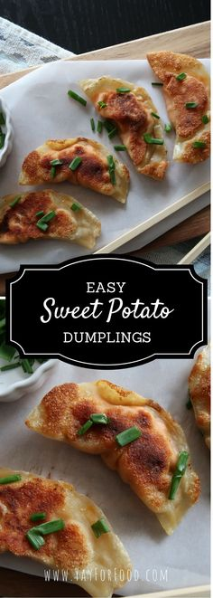 A delicious and crispy dumpling filled with baked sweet potato, cream cheese, and chives. Perfect for a meal or as an appetizer.