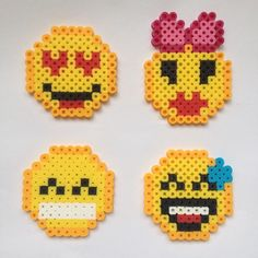 Emoji perler beads by perler_beads98. I can make these with the grandkids. So easy to make and they love making them.