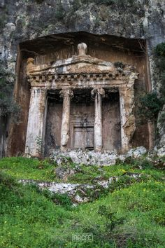 Amynthas Rock Tomb, Fethiye, Turkey, by Sergio Camalich. The tomb was carved on the side of the mountain by the Lycians. Abandoned Mansions, Abandoned Buildings, Abandoned Places, Places To Travel, Places To See, Places Around The World, Around The Worlds, Beautiful World, Beautiful Places