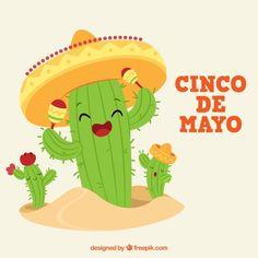 Fondo de Cinco de Mayo con graciosos personajes de cactus Vector Gratis Happy Friday, Cactus Cartoon, Cactus Illustration, Mexican Hat, Mexico Art, Graduation Project, Logo Sticker, Banner Template, Painted Rocks