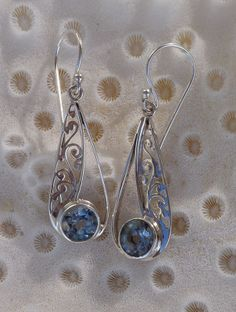 Sterling silver Blue topaz Fillagree earrings - product images