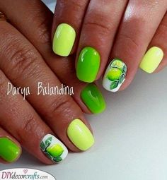 Want some ideas for wedding nail polish designs? This article is a collection of our favorite nail polish designs for your special day. Fruit Nail Designs, Pink Nail Designs, Nail Polish Designs, Acrylic Nail Designs, Nails Design, Neon Nail Art, Neon Nails, Opi Nails, Lime Nails