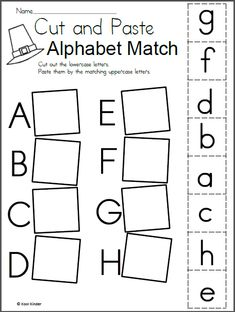 Preschool alphabet worksheets and coloring pages help your little one master all the letters of the alphabet. Check out our preschool alphabet printables. Letter Worksheets For Preschool, Free Kindergarten Worksheets, Preschool Letters, Letter Activities, Preschool Learning Activities, Free Preschool, Matching Worksheets, Free Printable Alphabet Worksheets, Cut And Paste Worksheets