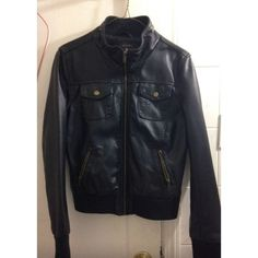 F21 LEATHER JACKET Leather Jacket w/ two open flap chest pockets and two zippered pockets Size large, but fits a medium better Forever 21 Jackets & Coats