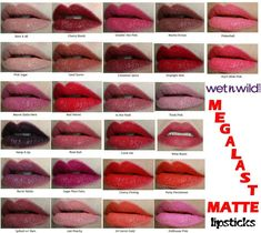 Wet N Wild Megalast Matte Lipsticks Swatches! Smooches. Dueces. ♡