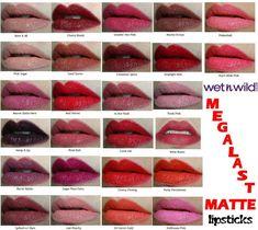 Wet N Wild Megalast Matte Lipsticks Swatches! Smooches. Dueces. ♡