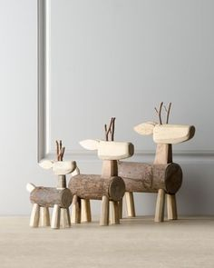 Three Alpine Log Deer traditional holiday decorations