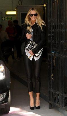 Elle MacPherson Head to Toe black, leather leggings
