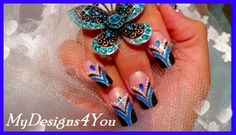 ABSTRACT BLUE AND BLACK FRENCH NAIL ART, TUTORIAL, HOW TO - ♥ MyDesigns4...
