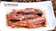 Macrou cu sos de rosii si usturoi la cuptor Steak, Bacon, Pork, Beef, Cooking, Breakfast, Youtube, Pork Roulade, Meat