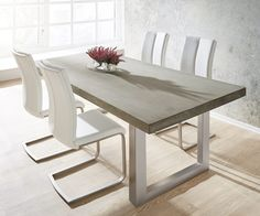 Dining Table Cement Gray Concrete Optic Frame Slim Furniture Tables Dining Tables Source by lisaantesberger Table Beton, Concrete Dining Table, Steel Dining Table, Modern Dining Table, Extendable Dining Table, Dining Room Table, Dining Set, Table And Chairs, Dining Bench
