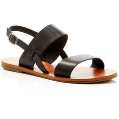 Lucky Brand Avenu Flat Sandals - Compare at $59 (£23) ❤ liked on Polyvore featuring shoes, sandals, black, lucky brand shoes, flat sandals, kohl shoes, leather upper shoes and black rubber sole shoes