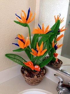 Handcrafted floral arrangement ,crocheted flower Bird Of Paradise