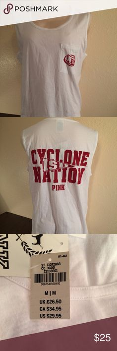 """Victorias Secret PINK Iowa State Cyclones Tank Top Victoria's Secret PINK Iowa State Cyclones White Pocket Tank Top - NWT Size: Medium Show your PINK love for your team in style! It's super comfy with cotton blend material and no sleeves. It's finished with the cyclone logo on the front pocket and """"ISU Cyclone Nation"""" and the PINK logo on the back.  0667541568491 PINK Victoria's Secret Tops Tank Tops"""