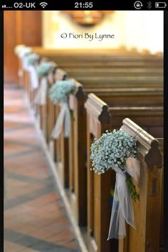 Gypsophelia pew ends, neat and simple little pew ends. Notice how you don't have to do every pew