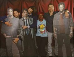 I'm sorry, is JARED BITING THE CAS CUTOUT?!<---- yes and Misha is touching the Dean cutout's junk....