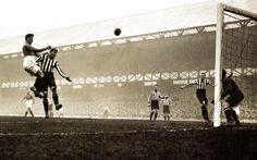 Everton's Bill 'Dixie' Dean (L) directs a header goalwards  - UK -20 October 1930