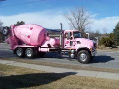 Pink Concrete Mixer Truck