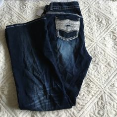 """Cute boot cut jeans with silver detail Inseam 33 3/4 - Out Seam 45"""" - tall jeans Maurices Jeans Boot Cut"""