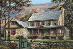 Elevation of Country Farmhouse Southern House Plan Cute country house with bedroom on main and four bedroom (master) up. Country Style House Plans, Cottage House Plans, Country Style Homes, Cottage Homes, House Floor Plans, Farm House, Southern Style, Southern Homes, Southern Living
