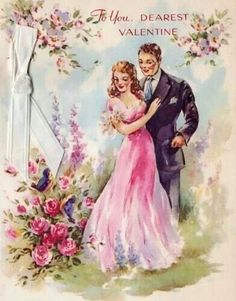 Vintage Valentine Card I think this would work for wedding & love cards too if greeting changed
