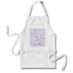 Purple Galley Kitchen White Starfish Bib Apron
