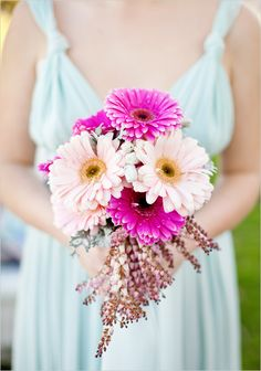gerbera daisy wedding bouquet; like the simple look, but it is still a nice sizes bouquet--love those flower sprays sticking out the bottom:)