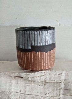 No Handle Pinchy Striped Stoneware Coffee or Tea Mug with Salmon, Black and Lavender. via Etsy.