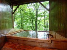 無料の貸切風呂。目の前の木々がとってもきれい。 蓼科温泉 親湯 [Shinyu]-Tateshina Onsen,Nagano,Japan