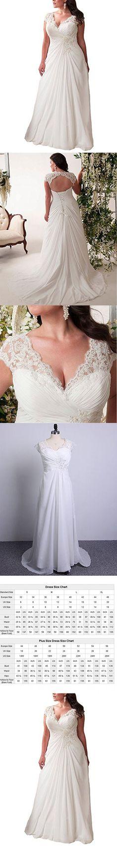 Mulanbridal Elegant Applique Lace Wedding Dress Chiffon V Neck Plus Size Beach Bridal Gowns White 18