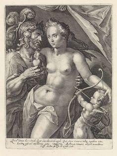 Crispijn van de Passe (I) | Mars en Venus, Crispijn van de Passe (I), 1589 - 1611 | Mars en Venus als geliefden. Mars biedt Venus zijn vlammende hart aan. Venus wordt vergezeld door Amor die zijn pijl op het hart van Venus gericht heeft. In de marge een vierregelig onderschrift, in twee kolommen, in het Latijn, dat verwijst naar de liefde tussen Mars en Venus. Prent uit een serie met Goden en Godinnen als geliefden.