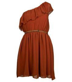 Rust Chiffon Frill Belted Dress