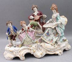 A large Continental porcelain polychrome and gilt