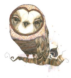 owl by unknown artist.. Very cool. I live the over exaggerated features of the illustration
