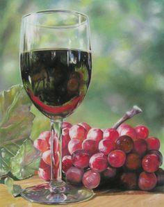 LOOKING GLASS peinture pastel de verre à vin & par conniesonnenberg