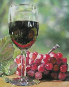 LOOKING GLASS,  pastel painting of wine glass & grapes with horse reflection.
