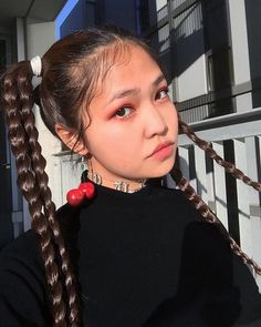 Pigtails with multiple braids and edges, #cute hairstyle