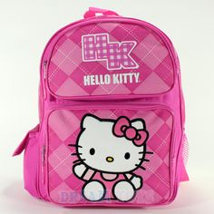 11b2c3fc38 14  Sanrio Hello Kitty Pink Argyle Print Med Backpack - Girls Bag School  Kids