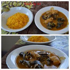 plat ivoirien : attiéké sauce claire escargot et tripes