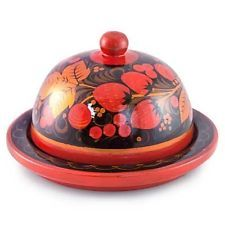 KHOKHLOMA PAINTING. Butter Dish. Hand-painted designs, made in Russia
