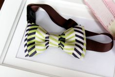 Green Navy Chevron Bowtie for babies toddlers boys by bananaribbon, $12.99